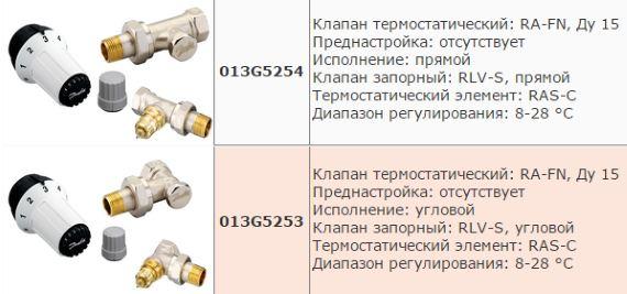 радиаторные комплекты данфосс