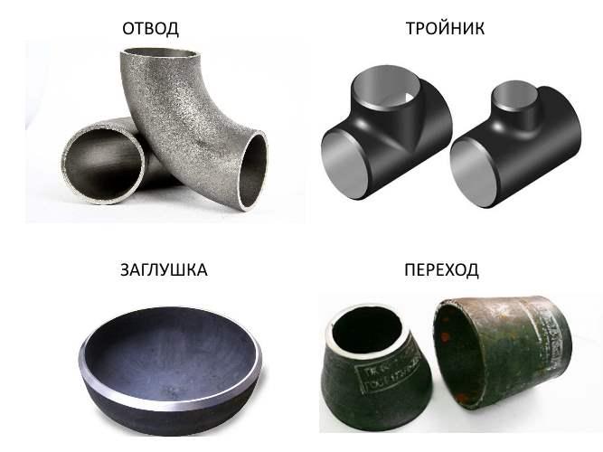 Виды стальных приварных деталей трубопроводов. Отвод, заглушка, тройник, переход.