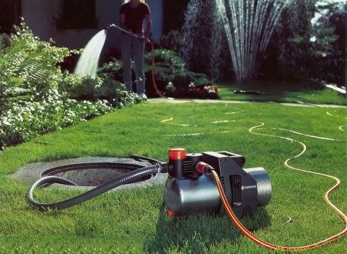 Полив газона поверхностным самовсасывающим насосом