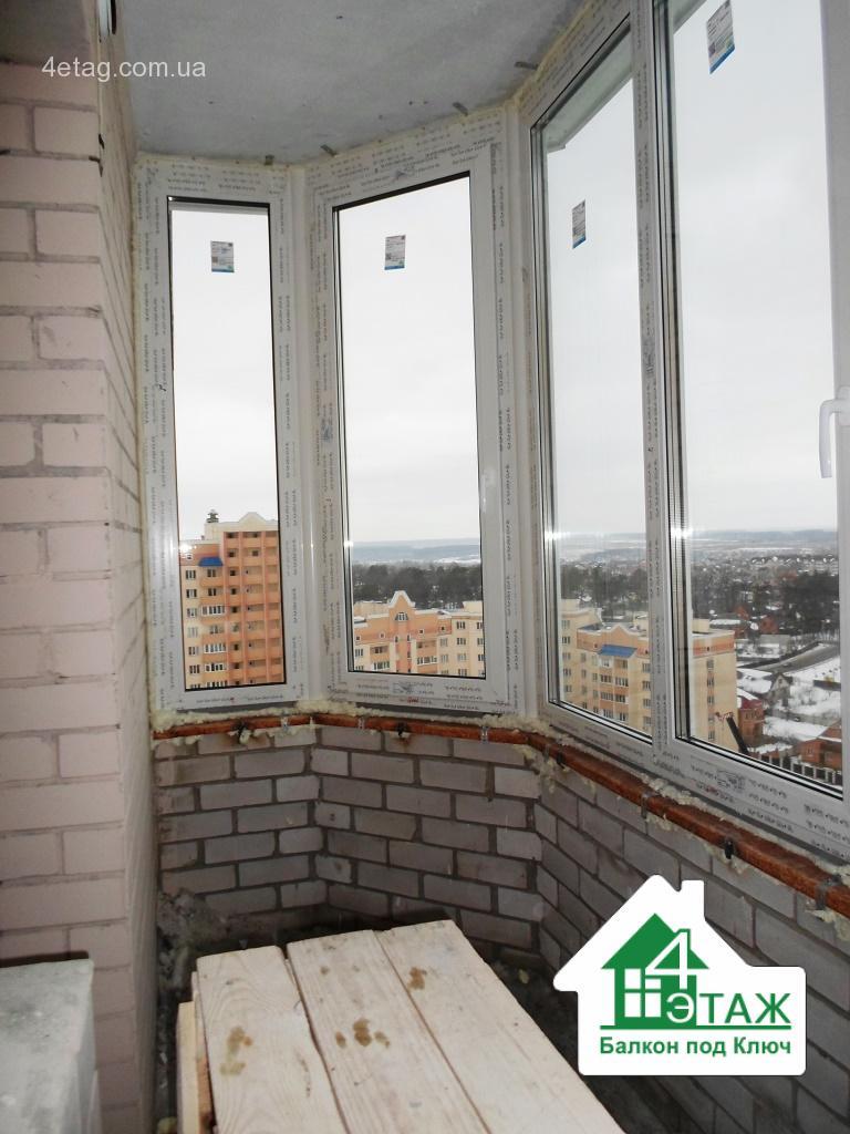 """""""4 этаж.Балкон под ключ"""" Остеклениие балкона Рехау"""