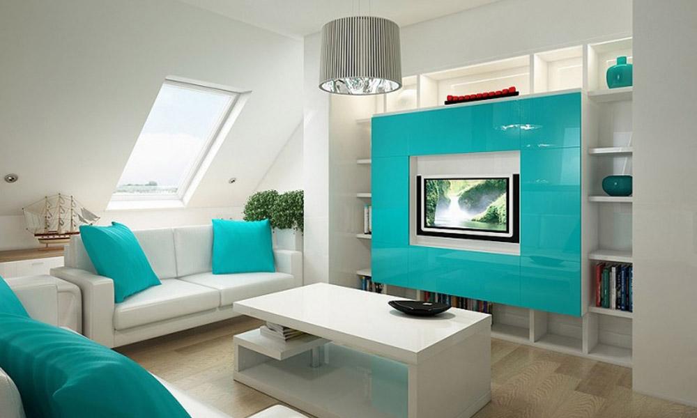Дизайн интерьера цвета морской волны