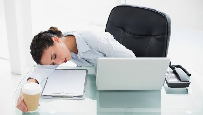 woman sleeping work